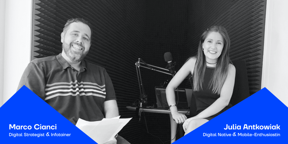 Die Moderatoren Julia und Marco vom Podcast JAD - Blogbeitragsbild