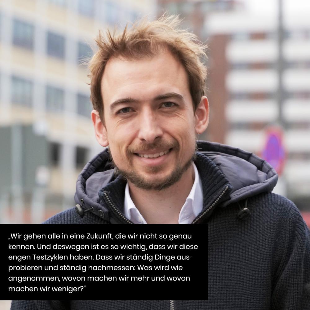 Zitat Matthias Brender zum Testing neuer Methoden